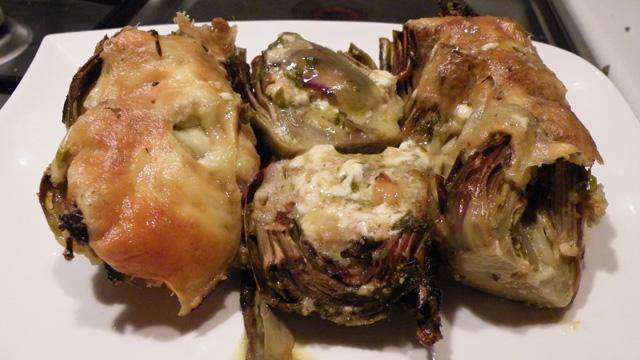 Artichauts violets en gratin Terminer