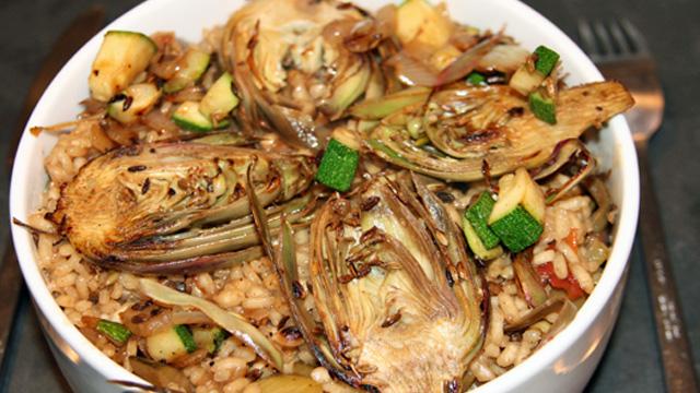 Recette risotto aux artichaux violet