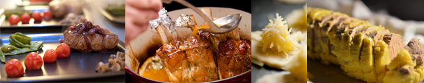 banniere de plusieurs plats: foie gras, filet de boeuf