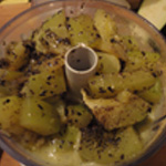 Flan-de-courgettes-Mixer les courgettes