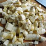 Clafotis bananes Framboises Couper en cubes