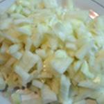 Parmentier de poulet Emincer les oignons