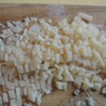 Pesto ail et pignons de pin Puis en cubes