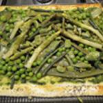 Pizza primavera Ajouter les asperges et petit pois