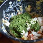 Tarte épinard et chorizo Mélanger les ingrédients