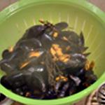 Potage aux moules Récupérer le jus de cuisson