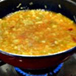 Potage aux moules Ajouter le jus au potage
