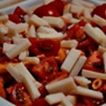 Gratin de pates au jambon Poser les cerises sur les pâtes