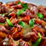 Gratin de pates au jambon Après cuisson ajouter jambon et basilic