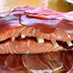 Saumon au four Recouvrir de jambon