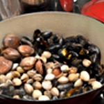 Pizza fruits de mer Cuire moules et coqs