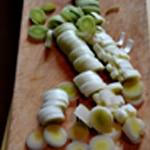 Soupe de poireaux au lard Trancher les poireaux
