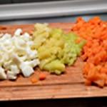 Hure de saumon végétarien Couper les légumes