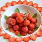 Salade de fraises Préparation l'assiette