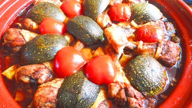 Recette de Tajine de poulet et courgettes
