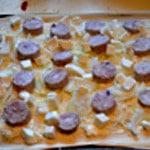 Pizza Andouillette Couper en cube la mozzarella
