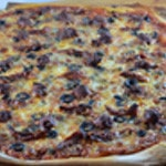 Pizza merguez Pizza cuite