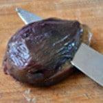 Figues au vin Trancher les figues