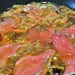 Soupe Chinoise au boeuf Cuire le boeuf dans le bouillon