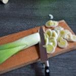 Soupe au lard Couper les poireaux