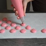 Macarons à la framboises Pocher régulièrement