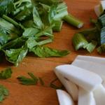 Terrine de foie de lapin Rincer les légumes