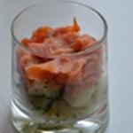 Verrine de saumon fumé Puis ajouter le saumon fumé