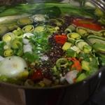 Consommé de langoustines Cuire les légumes