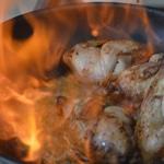 caille farcies aux marrons et foie gras Flamber