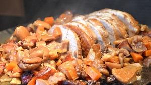 Recette de Rôti de porc aux châtaignes