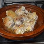 Tajine de poulet aux raisins Retourner le poulet