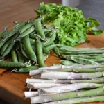 Légumes de printemps Trancher les légumes