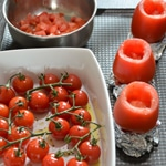 Pâtes maison et tomates farcies Creuser les tomates
