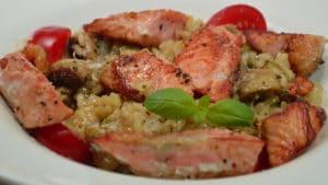 Recette de Risotto au saumon et champignons