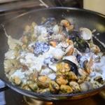 Risotto aux moules et crème d'ail Ajouter le parmesan
