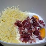 Tarte au jambon cru Mélanger les ingrédients