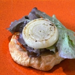Hamburger sauce beurre blanc Oignon grillé