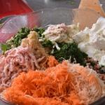 Lasagnes jambon et poulet Hacher les légumes