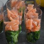 Verrine de saumon fumé et mâche Ajouter le saumon