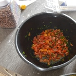 Verrines de pois chiche et tomates Concasser les tomates