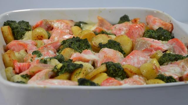 Gratin de saumon et épinards