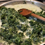Lasagnes au saumon épinards Ajouter la crème aux épinards