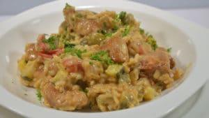 Recette de Risotto au poulet et olives vertes