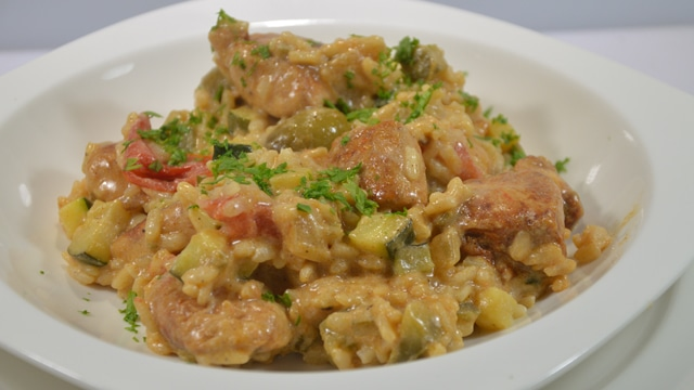 Risotto au poulet et olives vertes
