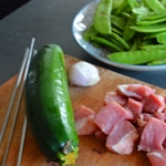 Brochettes de porc et pois gourmands Les ingrédients